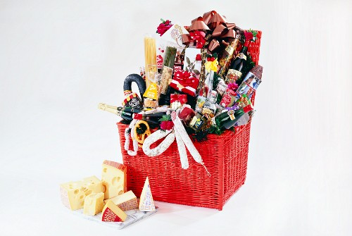Gift hamper with various foods and drinks