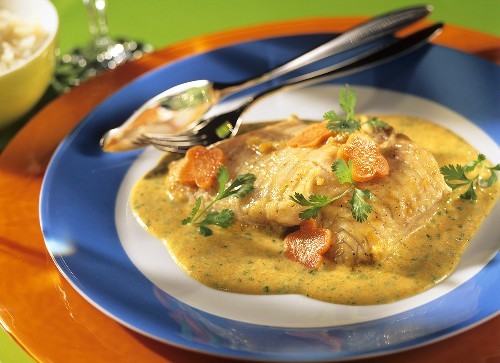 Catfish fillet with ginger and coriander sauce
