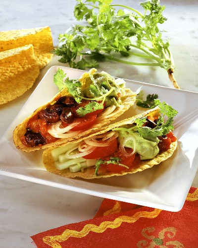 Tacos with vegetable filling & avocado mousse on platter