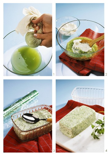 Making cucumber mousse (squeezing cucumber, folding in cream)