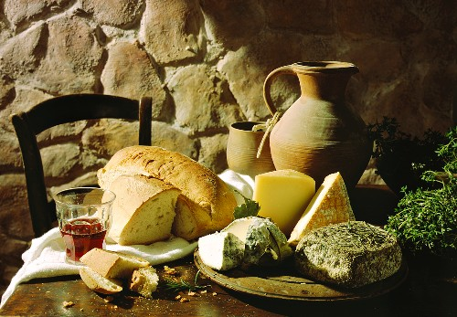 Still Life with Corsican Cheese; Bread