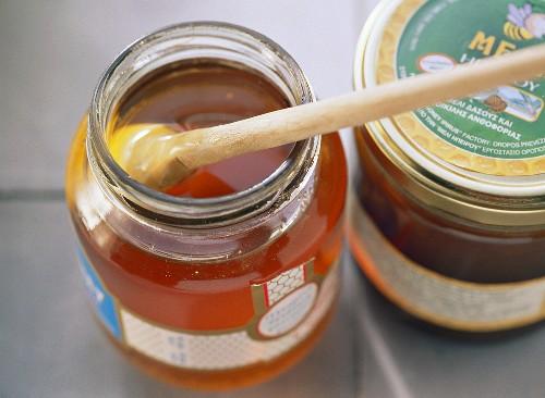 Greek wild flower honey in two jars