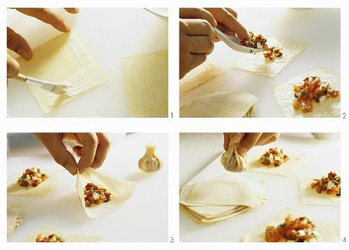 Filling wan tan wrappers