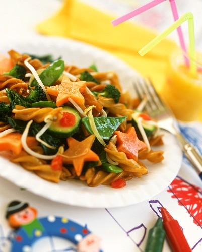 Pasta spirals with vegetables for children