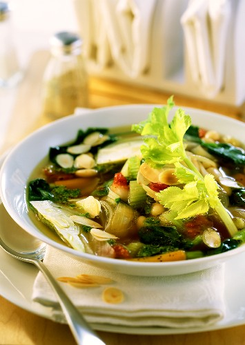 Minestrone ligure (Vegetable soup with almond pesto)