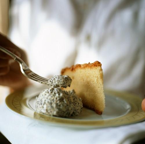 Piece of lemon tart with poppy seed ice cream