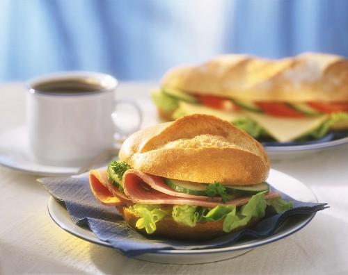 Sandwich with Bierschinken, cheese baguette and coffee