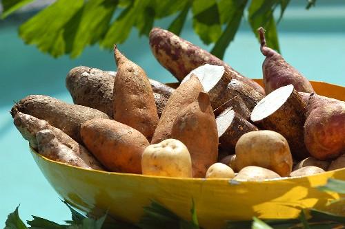Potatoes, sweet potatoes and yam in yellow bowl