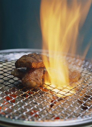 Beef steak on table grill