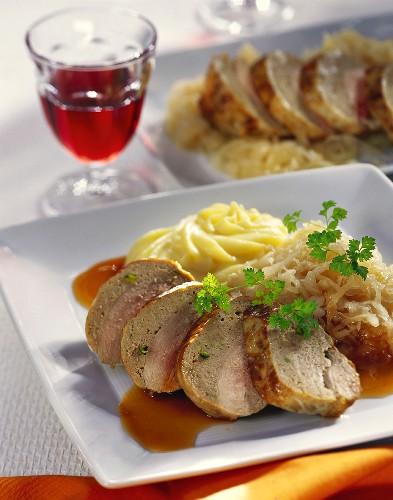 Stuffed pheasant breast in pork caul with champagne sauerkraut