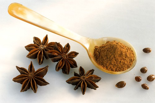 Star anise and ground star anise on spoon