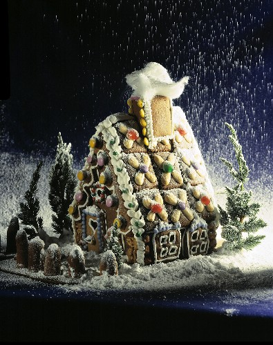 Icing sugar drizzling on to a gingerbread house