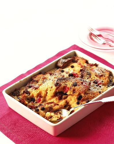 Vanilla panettone pudding in baking dish