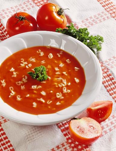 Tomato soup with alphabet spaghetti