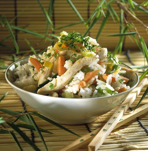 Chicken breast fillet with vegetables and rice