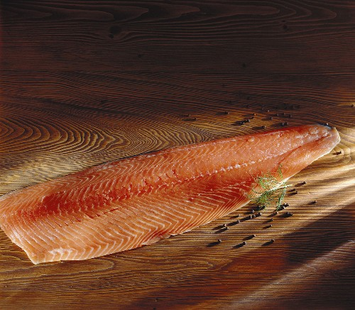 A fillet of smoked salmon