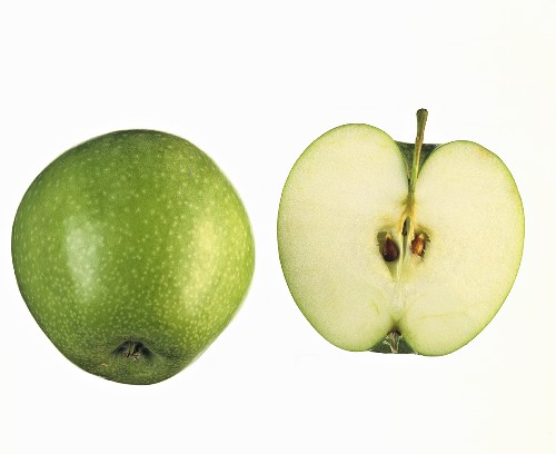 One whole and one half Granny Smith apple