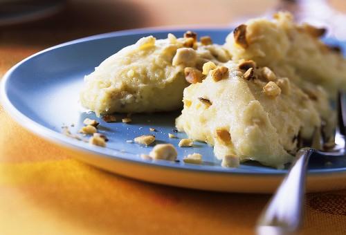 Mashed potato with chopped hazelnuts