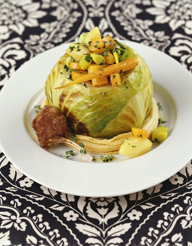 Stuffed cabbage and lamb cutlet