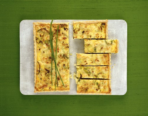 Leek and cauliflower quiche from above