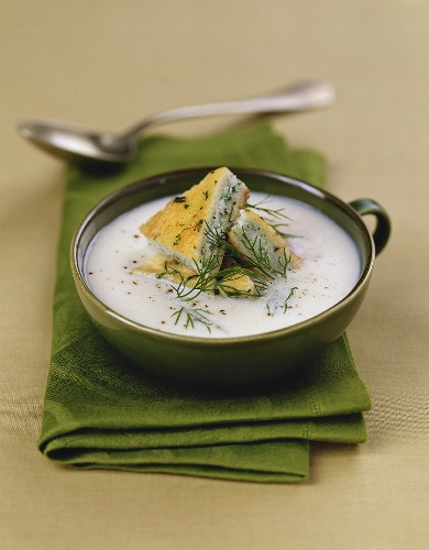 Sturm (young wine) soup with zander-filled French toast
