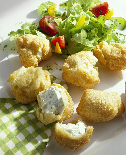 Choux pastry balls filled with soft cheese