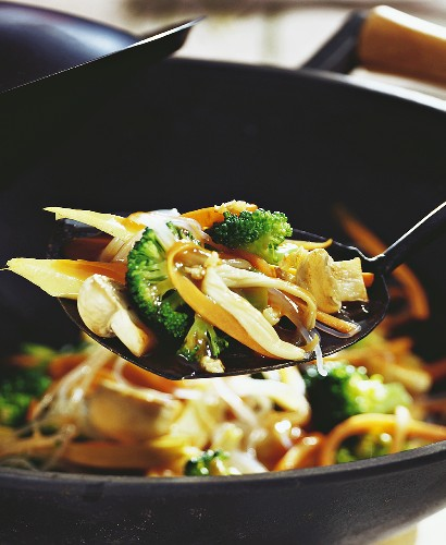 Vegetable chop suey with glass noodles cooked in wok