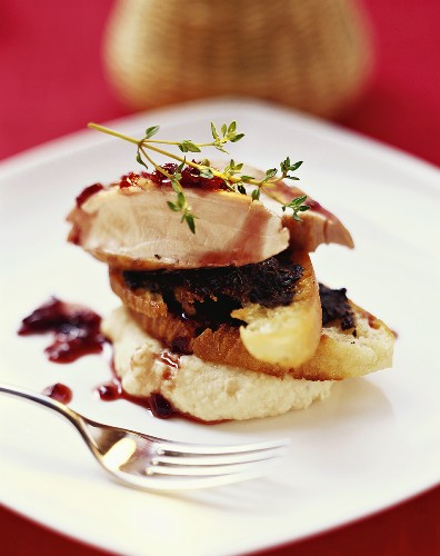 Rabbit with onions in Barolo wine, bean puree and crostini