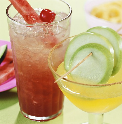 Fruity cocktails: Apple Margarita and Watermelon Man