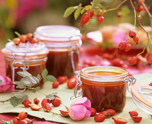 Three jars of rose hip jam