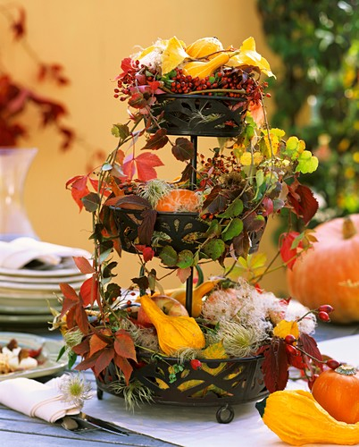 Tiered metal stand with Parthenocissus (Boston ivy), rose hips
