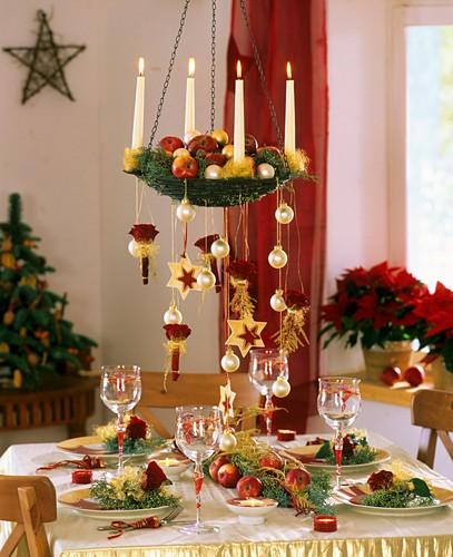 Festive table decoration for Christmas