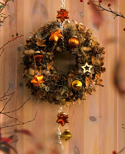 Dry Christmas wreath hanging on the wall