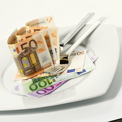 Euro notes on plate with knife and fork