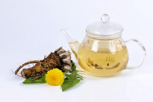 Dandelion tea in glass teapot, dandelion root, flower & leaves