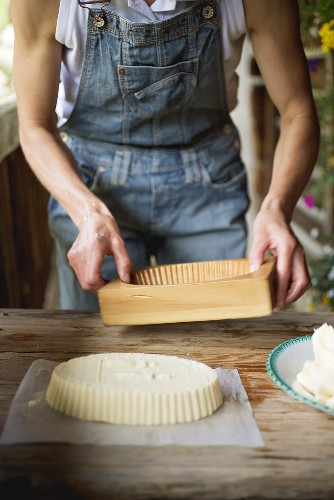 Farmhouse butter shaped in a wooden mould