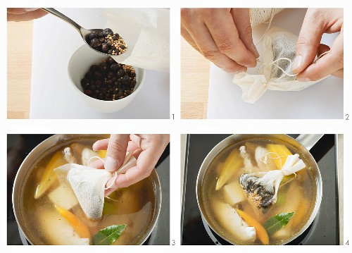 Gewürzsäckchen füllen und in eine Suppe geben