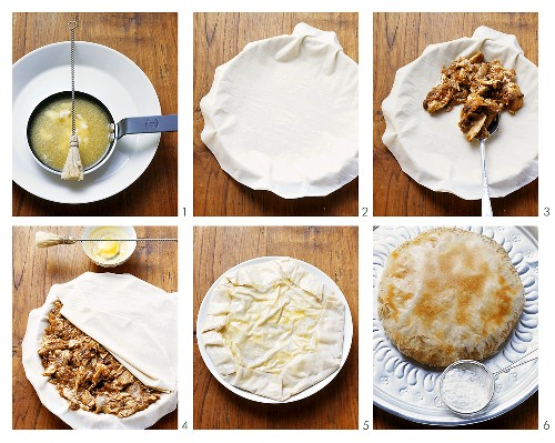 Making Moroccan pastilla with wildfowl filling