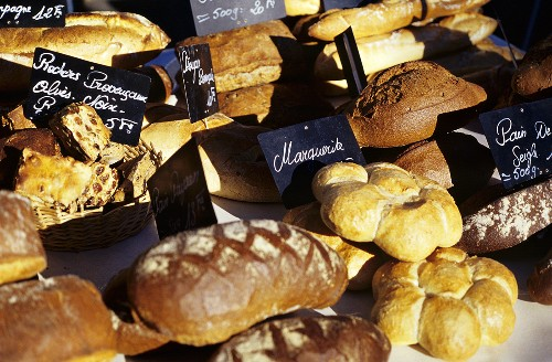 French baked goods on a market stall in Provence
