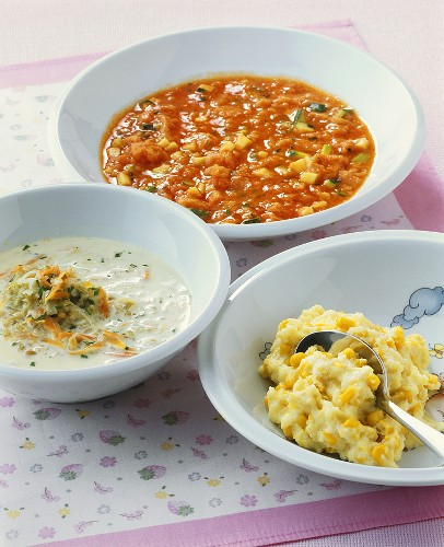 Polenta with sweetcorn, green spelt soup, bruschetta soup (for babies)