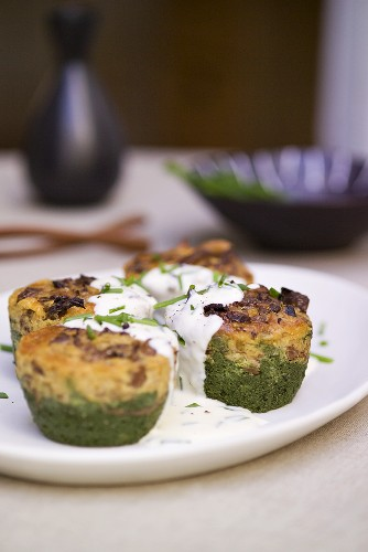 Spinach and mushroom timbales