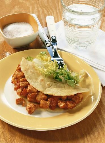 Burrito with chicken filling