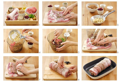 Preparing pork roulade with mince stuffing