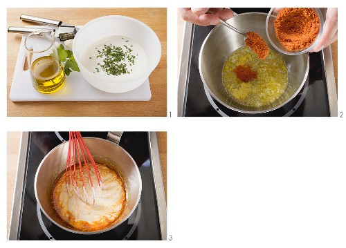 Making yoghurt sauce with paprika
