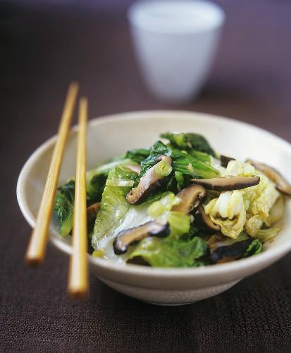 Vietnamese stir-fried vegetables with mushrooms