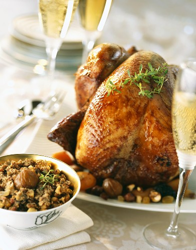 Roast turkey with chestnuts (Christmas dish, France)