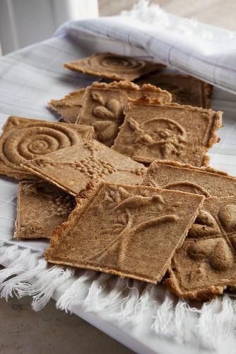 Cinnamon wafers on fringed cloth