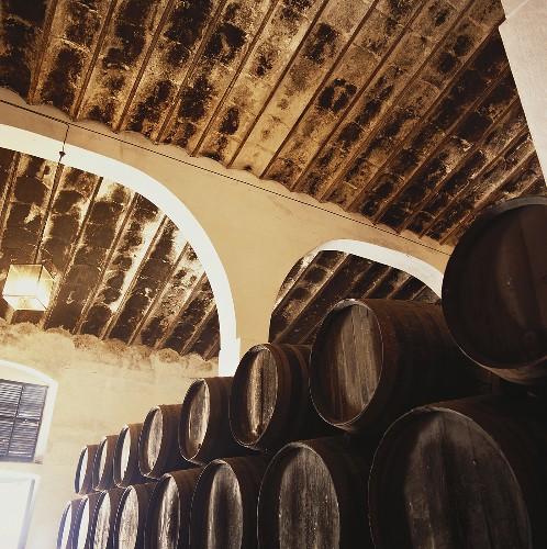 Weinfässer der Bodega Aranda, Jerez, Spanien