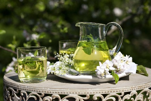 Peppermint tea with herb liqueur