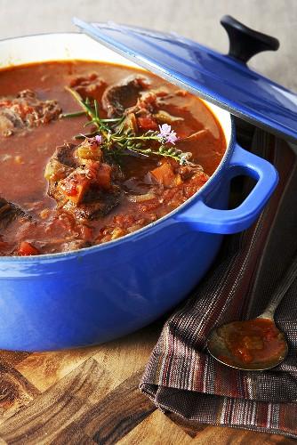 Braised beef cheeks in casserole